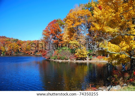 Autumn Mountain with lake view and colorful foliage in forest.