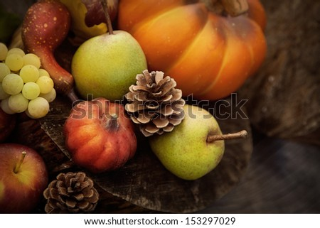 Autumn Nature. Fall Fruit On Wood. Thanksgiving. Pumpkins, Apples,Grapes, Courgettes And Pears