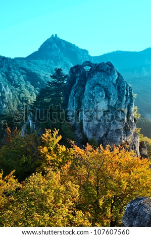 Autumn nature, rock landscape in blue and yellow