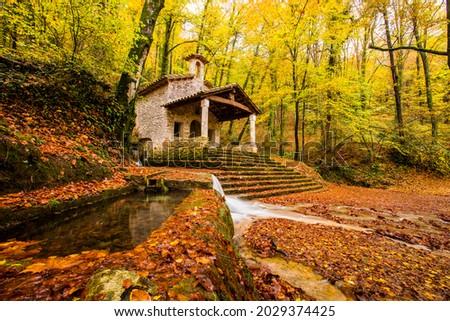 Autumn near Sant Marti del Corb church, La Garrotxa, northern Spain. Foto stock ©