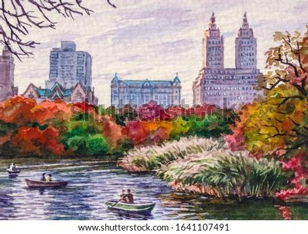 Autumn New York central park. Lake, boat skyscraper. Beautiful nature. Colorful fall season. Watercolor painting