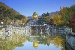 Autumn of Statue of Buddha in Wawoo Temple, Yongin Gyeonggi Province, Korea