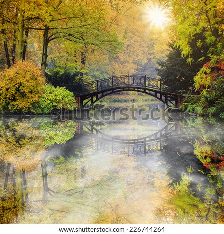 Autumn - Old bridge in autumn  park