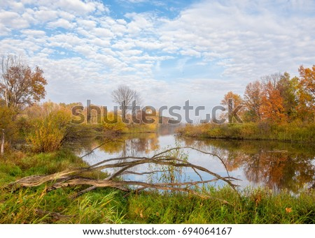 Autumn on the river, a beautiful time of the year. Autumn Landscape. Park in Autumn. The bright colors of autumn in the park by the lake.