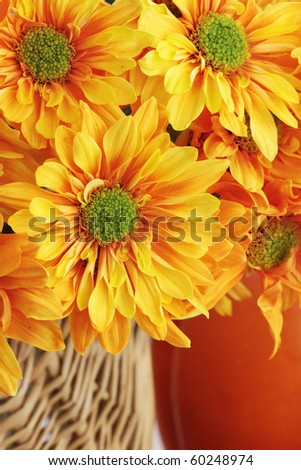 Autumn or Thanksgiving Bouquet with pumpkin background. Extreme shallow DOF.