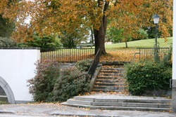 Autumn outdoor stairway with fallen leaves