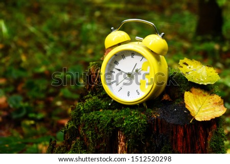 Autumn picture with a clock. Autumn has come. Time to harvest. Yellow alarm clock on a stump.