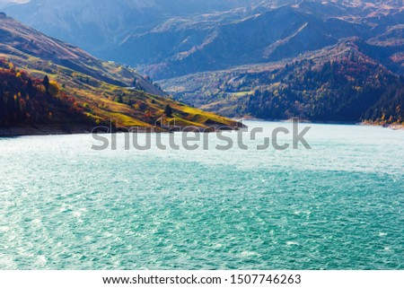 Autumn picturesque view on Roselend lake (Lac de Roselend) in France Alps (Auvergne-Rhone-Alpes). Landscape photography #1507746263