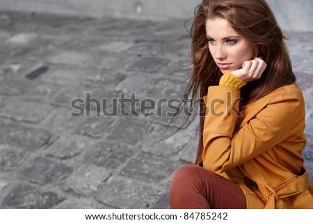 Autumn portrait of a beautiful woman