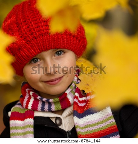 Autumn - Portrait of beautiful girl in autumn park