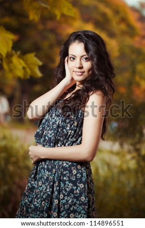 Autumn portrait of beautiful indian young girls