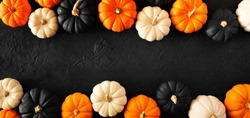 Autumn pumpkin double border banner in Halloween colors orange, black and white against a black stone background. Copy space.