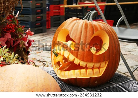 Autumn pumpkin. Halloween decoration #234531232
