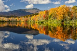 Autumn reflections on Price Lake along the Blue Ridge Parkway in North Carolina.