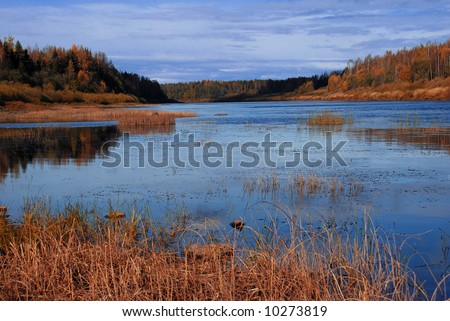 Autumn, river, blue, forest, clouds