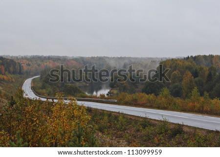 Autumn road, rain forest