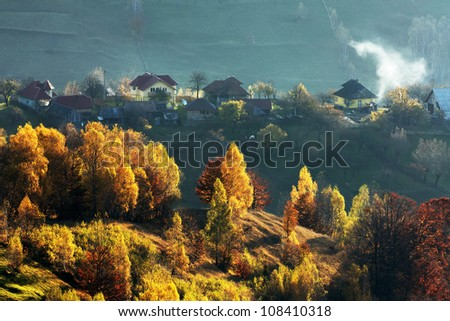 Autumn rural landscape in Romania ,Europe.