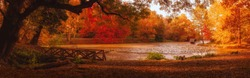 Autumn scene at the lake in park, Lipnik (Teketo) park, Nikolovo village area, Ruse district, Bulgaria