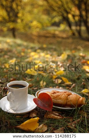 Autumn scene. Coffee and croissant. beautiful day