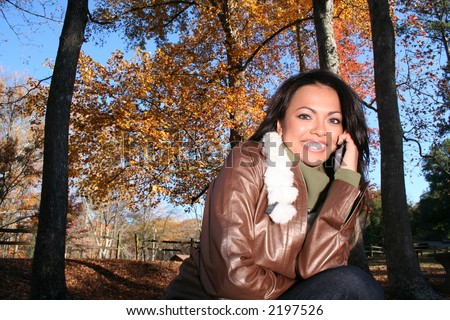 Autumn Scene Fall Woman With Cell Phone Communications Scene With Eye Appealing Model