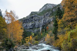 Autumn scene in Bujaruelo valley close to Ordesa and Monte Perdido National Park, Huesca province, Spain