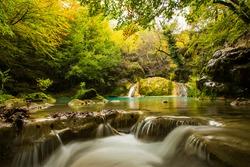 Autumn scene in Nacedero de Urederra river, Navarra, northern Spain
