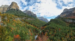 Autumn scene in Ordesa and Monte Perdido National Park, Huesca province, Spain