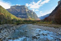 Autumn scene in Ordesa and Monte Perdido National Park, Huesca province, Spain