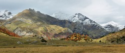 Autumn scene in Otal valley close to Ordesa and Monte Perdido National Park, Huesca province, Spain