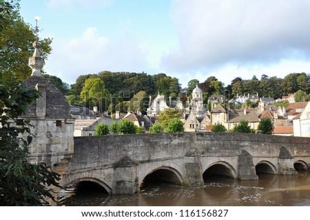 Autumn Scene of an Historic Medieval Era Packhorse Bridge in Bradford on Avon in England