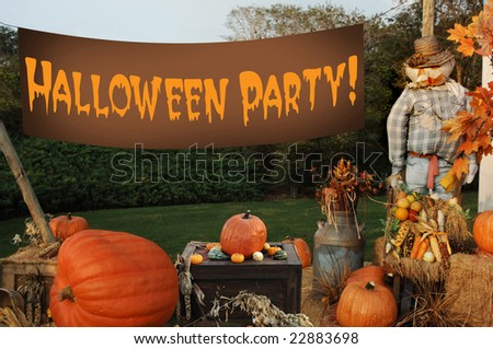 autumn scene with pumpkins, scarecrow and banner that says 'Happy Halloween""