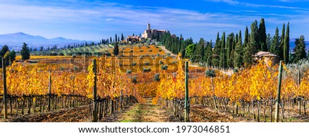 Autumn scenery. countryside of Tuscany. Golden vineyards and castle Castello di  Banfi. Italy Stok fotoğraf ©