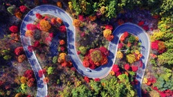 Autumn scenery of Korean mountains. I shot with a drone. There are lots of colored leaves around the road.