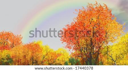 Autumn scenery with rainbow - Shutterstock ID 17440378