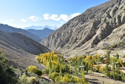 Autumn scenic view of Sham Valley Trek in October 2019, Leh Ladakh, India
