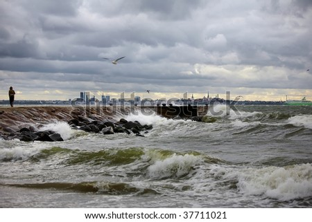 Autumn sea storm in Tallinn city, Estonia - stock photo