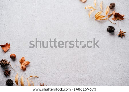 Autumn season abstract background. Fall yellow leaves frame on stone surface. Thanksgiving day, seasonal concept. Copy space.