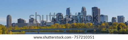 Autumn season Downtown Minneapolis Mississippi River view #757210351