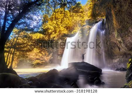 Autumn season Landscape waterfall ,water fall thailand .