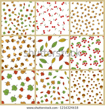 Autumn season nature elements seamless patterns big set. Colorful leaves, ripe berries, acorns and mushrooms flat s on white background. Fruits harvest, defoliation, forest food illustrations