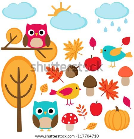 Autumn set  - tree, leafs, mushrooms and birds. Raster version.