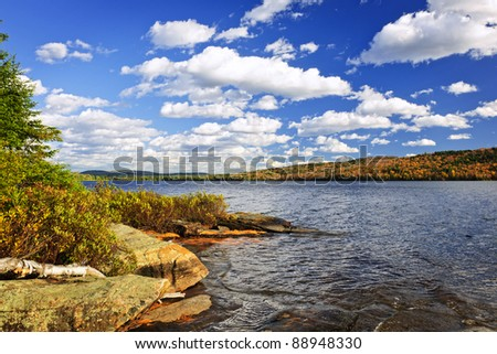 Autumn shore at Lake of Two Rivers, Ontario, Canada