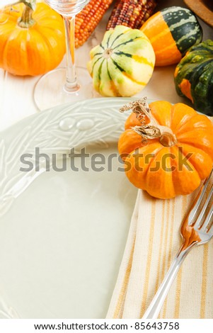 Autumn squash and pumpkin decorate a colorful Fall place setting with copy space