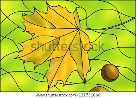 Autumn stained-glass illustration