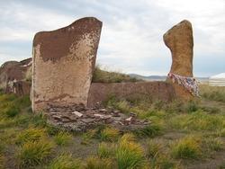 autumn steppes and hills of Khakasia, megaliths Salbyksky kurgan