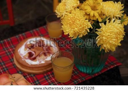Autumn still life beautiful in nature with rowan, pumpkin, apples, autumn leaves #721435228