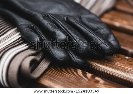 Autumn still life. Men's leather gloves and striped scarf on the bench. Stock photo ©