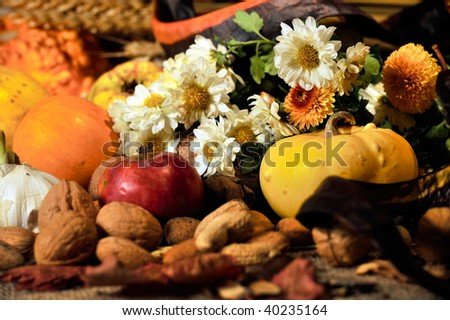 autumn still-life with fruits and vegetables #40235164