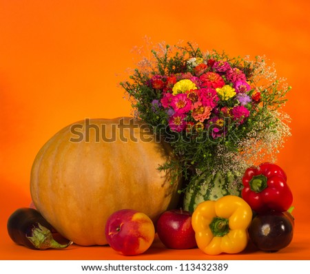 Autumn still life with pumpkin and fruit #113432389