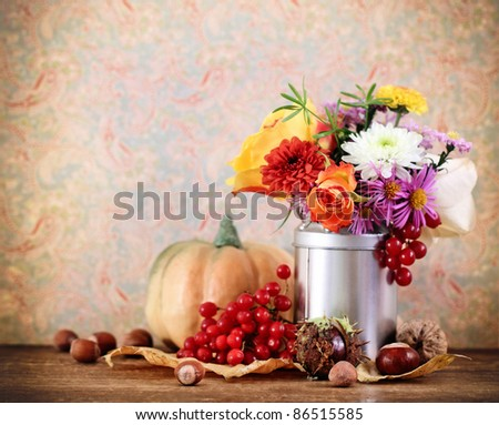 Autumn still life with pumpkin in retro style - stock photo